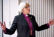 """Leiterin der schwedischen Kirche, Erzbischöfin Antje Jackelén – ihr gewähltes Motto bei Amtseinführung war: """"Allahu Akbar""""."""