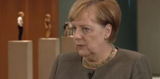 "Angela Merkel (Screenshot aus dem ""Interview"")."