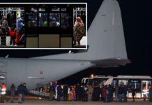Flughafen Tripolis, die Invasion wird nach Europa geflogen.