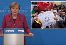 Screenshot der Pressekonferenz vom 11.12.2017; kleines Bild: Moslems verbrennen in Berlin eine Fahne mit einem Davidstern.