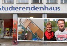 """Im """"Studierendenhaus"""" an der Mertonstraße kam es zur """"Polit-Randale""""; (kleines Bild: SPD-Bundestagsabgeordete Ulli Nissen und Mitarbeiter Nis Thiemeier)."""