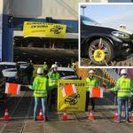 Anhänger der Klimareligion blockierten am Autoterminal in Bremerhaven unter anderem mit Parkkrallen (kl. Foto) das Entladen von SUV-Fahrzeugen.