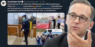 Tweet des auswärtigen Amtes vom 6. April. Man beachte auch den teuren, roten Wagen im Bild oben rechts.