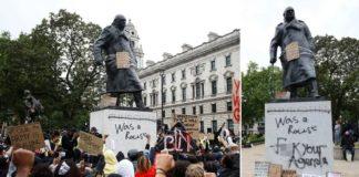 """Auch die Statue von Winston Churchill in London blieb nicht verschont von BLM-""""Aktivisten""""."""