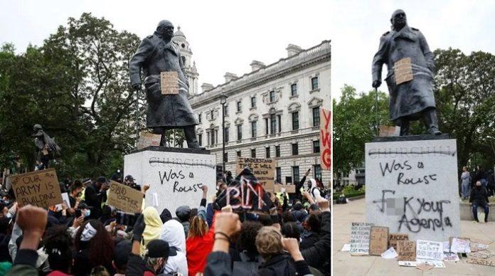 Auch die Statue von Winston Churchill in London blieb nicht verschont von BLM-