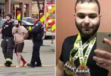 Der zehnfache Killer und Wrestlingfan Ahmad Alissa (21) aus Arvada, einem Vorort von Denver, wird nach seinem Blutgemetzel in einem Supermarkt in Boulder von Polizisten abgeführt.