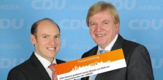 """Hessens CDU-General Manfred Penz und Ministerpräsident Volker Bouffier: """"Mit ihr {Janine Wissler] hat die Partei eine geschliffene Rednerin und charismatische Persönlichkeit an die Doppelspitze gewählt…"""""""