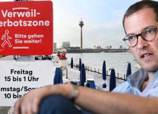 """Allmählich reichts auch BILD-Chefredakteur Julian Reichelt: """"Verweilverbotszone"""" an der Düsseldorfer Rheinpromenade! Von Freitag bis Sonntag ist es Passanten verboten, auf Bänken auszuruhen oder beim Flanieren stehen zu bleiben."""