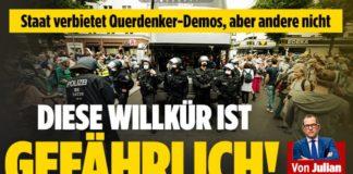 BILD-Aufmacher am Tag nach der verbotenen Querdenker-Demo und der Polizeigewalt gegen unbescholtene Bürger.