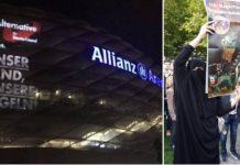 AfD-Werbeprojektion an der Fassade der Allianz-Arena in München, rechts: Bundestagskandidatin Katrin Ebner-Steiner im Niqab mit Protestplakat in Passau.