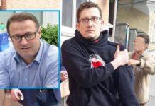 Antifa-Tortenwerfer David H. (re.), kleines Foto der AfD-Bundestagskandidat Günter Straßberger.