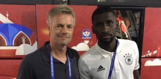 """""""Komm Antonio, jetzt lass doch mal. Ich will meinen Job behalten!"""" ARD-Reporter Tom Bartels nach dem Spiel mit Nationalspieler Rüdiger."""