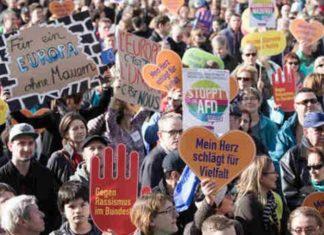 Demo in Berlin, gegen den Einzug der AfD in den Bundestag.