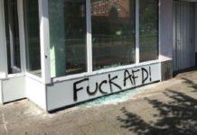 """So """"argumentieren"""" Linke: Fensterscheibe des Bremer AfD-Büros eingeschmissen und mit Graffiti beschmiert."""