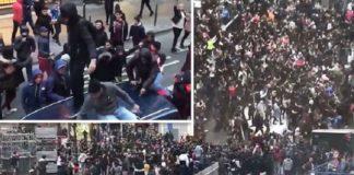 Fotocollage der Ausschreitungen am 15.11.2017 in Brüssel.