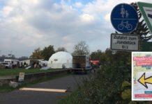 Doppelmoral: Klimacamp selbsternannter Umweltschützer mitten in einem Landschaftsschutzgbebiet in Bonn-Beuel. (Foto: Karl)