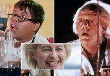 """Ursula von der Leyen + Symbolbilder (Forscher in den Filmen """"Der verrückte Professor"""" und """"Zurück in die Zukunft"""")."""