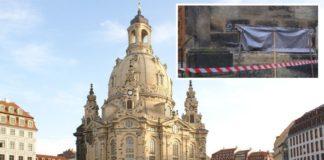 Dresdener Frauenkirche (kleines Bild: die abgedeckte Schmiererei).