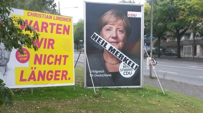 Merkel-Wahlplakat in Frankfurt/M.