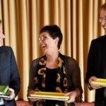 Die Verhandlungsführer der schleswig-holsteinischen Koalitionsverhandlungen: Heiner Garg (FDP), Monika Heinold (Bündnis 90/Die Grünen) und Daniel Günther (CDU).