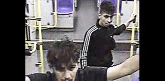 Als ein Mitfahrer diese beiden Randalierer in der Bahn Höhe Köln-Merheim ansprach, wurde er von ihnen brutal zusammengeschlagen.