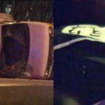 Das umgekippte Fluchtfahrzeug (rechts: Foto der IS-Flagge im Auto des Täters).