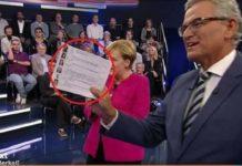 """Wenns um Merkel und ihre Flüchtlingspolitik geht, wird bei den Öffentlich-Rechtlichen nichts dem Zufall überlassen: Gästeliste mit Bild und vorgeschriebener Frage in der ZDF-Sendung """"Klartext, Frau Merkel!"""" am 14.9."""