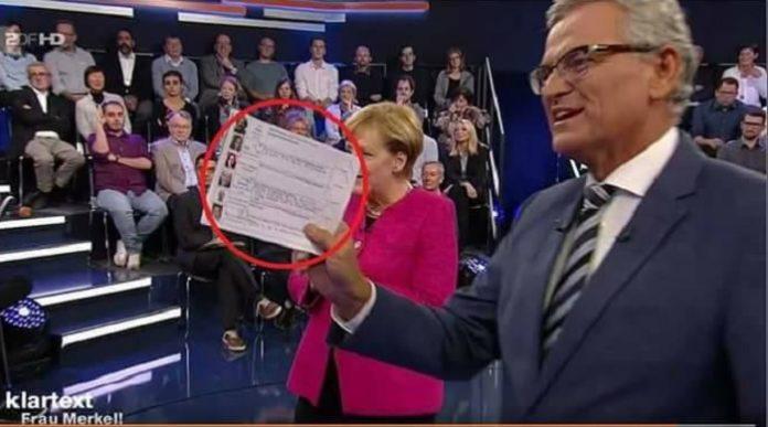 Wenns um Merkel und ihre Flüchtlingspolitik geht, wird bei den Öffentlich-Rechtlichen nichts dem Zufall überlassen: Gästeliste mit Bild und vorgeschriebener Frage in der ZDF-Sendung