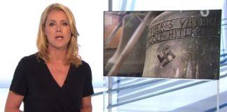 """Sichtlich erschüttert moderiert Kontraste-Moderatorin Astrid Frohloff den Beitrag über die """"Hitler-Glocke von Herxheim"""" an."""