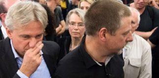 War sichtlich verschnupft: Jürgen Boos (l), Direktor der Frankfurter Buchmesse, musste eine herbe Niederlage gegen den Publizisten Götz Kubitschek einstecken.