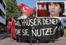 """Aus Hamburg nichts gelernt: Kölns Oberbürgermeisterin Henriette """"Armlänge"""" Reker (kl. Foto) kuscht vor der Antifa."""