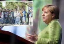 Merkel on Tour (kleines Foto: Bushaltestelle, nahe des Erstaufnahmelagers Gießen).