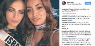 Miss Irak, Sarah Idan (re.) posierte für ein Foto mit Miss Israel, Adar Gandelsman.