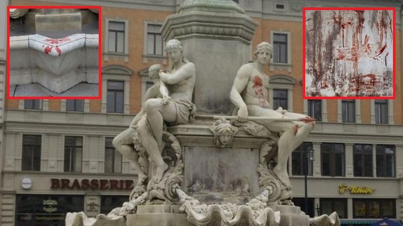 Görlitz Graffiti Gaddafi Besudelt Brunnen Mit Herzblut Hakenkreuzen