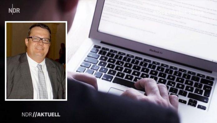 Screenshot des NDR-Berichts, (kleines Foto: Bodo Suhren, stellvertretender Bundesschatzmeister der AfD.