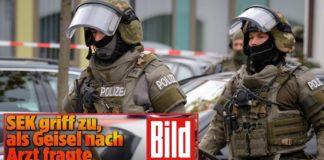 """Polizeieinsatz in Pfaffenhofen (Fotocollage mit """"BILD""""-Titel)."""