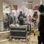 """Plünderung eines REWE-Supermarktes in Hamburg anlässlich der G20-""""Proteste"""" am 7.7.2017."""