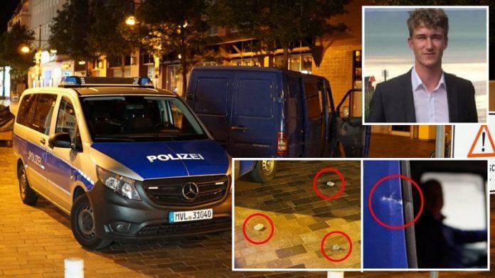 Fotocollage aus Tatortfotos (rechts oben: AfD-Direktkandidat Stephan Schmidt).