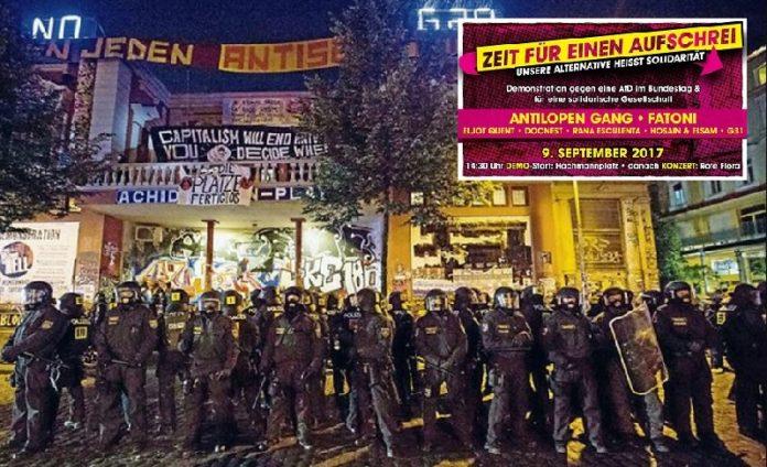 Polizeiaufmarsch vor dem linken Gewaltzentrum