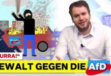"Screenshot aus dem Video von Ray Anders ""Hurra! - Gewalt gegen die AfD""."