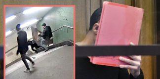 Der brutale U-Bahntreter Stoikov versteckte vor Gericht sein Gesicht hinter einer roten Mappe.