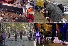 Fotocollage von Attentaten in Berlin, London, Barcelona und Paris.