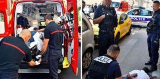 Li. Krankenwagen beim Abtransport, re. Täter wurde am Boden fixiert.