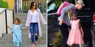 Hollywood-Stars Megan Fox mit Sohn Noah (l.) und Charlize Theron mit Sohn Jackson im pinken Kleidchen (r.).