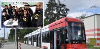 """Straßenbahn Nürnberg, (kl. Foto: """"Flüchtlinge"""" in Erwartung ihrer """"Dates"""")."""