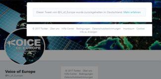 """Screenshot vom Twitteraccount """"Voice of Europe""""."""