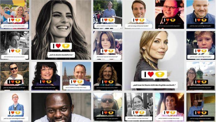 Screenshot der Wahlkampfseite unterstuetzt-merkel.de unter anderem mit Model Sophia Thomalla und der ehemaligen Boxerin Regina Halmich.