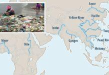 90 Prozent des Plastikmülls in den Weltmeeren stammen aus diesen zehn großen Flüssen in Asien und Afrika: Amur, Gelber Fluß, Hai He, Jangtse, Perlenfluß, Indus, Ganges, Mekong, Nil, Niger.