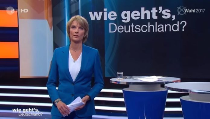 Marietta Slomka am 5. September 2017 in der ZDF-Sendung